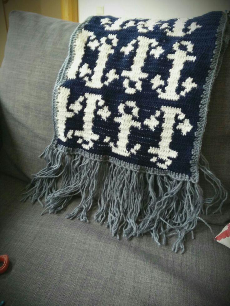 Anchors scarf #warm#navy#crochet