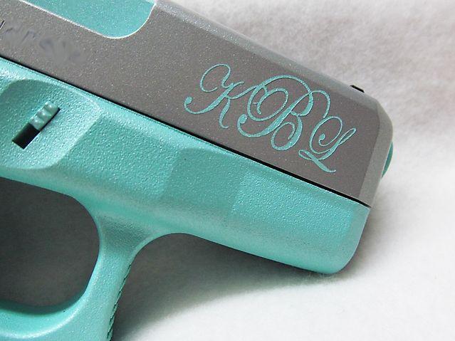 Glock 26 in Metallic Tiffany Blue & Titanium w Monogram
