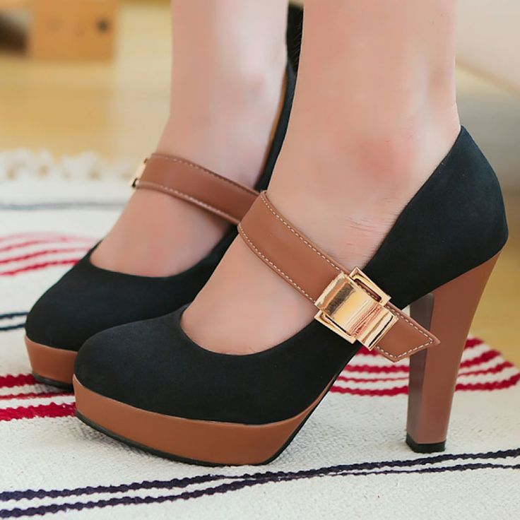 2013 navy blue dress shoe candy color vintage hasp ultra thick heel platform high heels pumps single plus size shoes, US $32.90