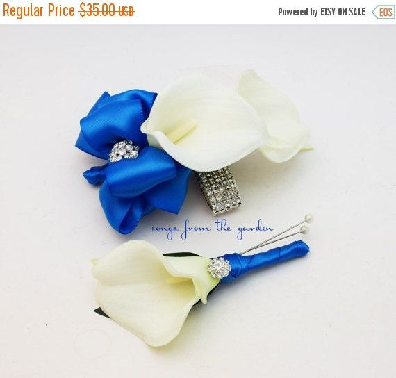 Winter Sale Royal Blue and White Callas and Rhinestones Real Touch Wedding Boutonniere and Corsage - Wedding Homecoming Prom Corsage