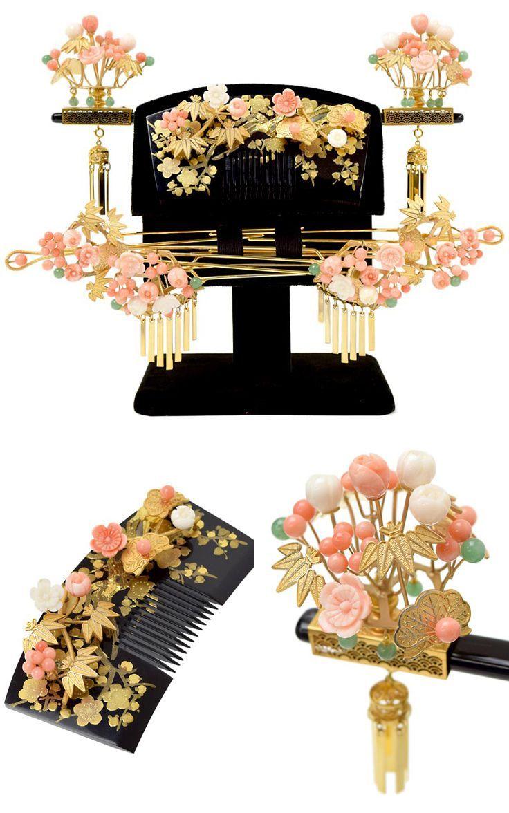 Kanzashi (traditional Japanese hair accesories) set for wedding, corals, semi precious stones, gilding