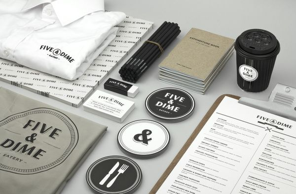 Branding design for a restaurant/café in Singapore called Five & Dime BY:  Bravo Company