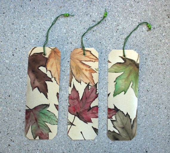 3 Bookmarks Originals watercolors Autumn leaves by by SilviaCairol, €15.00