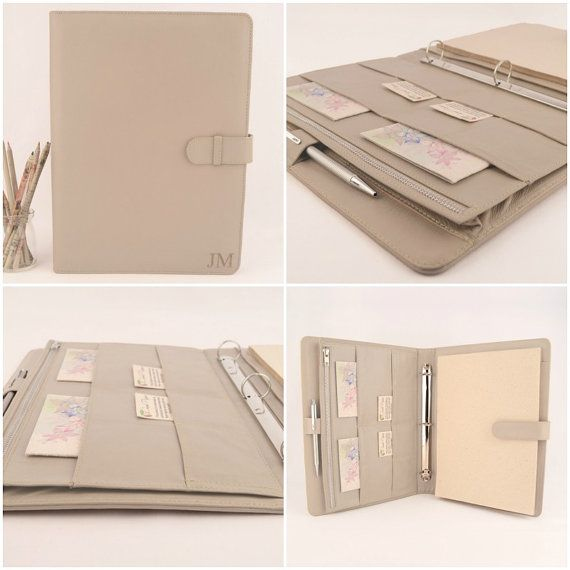 Sophisticated A4 genuine leather Ring Binder PadFolio, designed for a right handed person, has plenty of pockets to hold your loose leaf paper, top opening note pad along with all your notes, cards and papers.  Personalise your Ring Binder PadFolio with a laser engraving design from our gallery, your name or initials of your choice. Leather may also be left plain. Product Specifications: - Genuine leather size approx 24.2cm x 32.2cm (9.5 x 12.7) - Designed to hold an A4 note pad and loose…