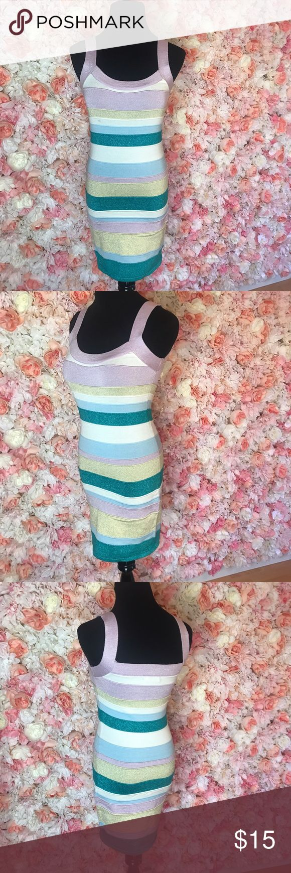 Multi color spring dress Spring cleaning some gently used pieces from my personal closet. Any questions feel free to ask Dresses Mini