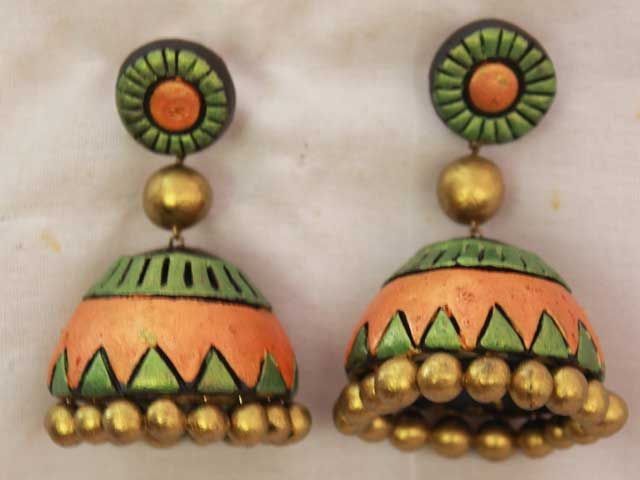 Orange Double Floral Terracotta jhumkas