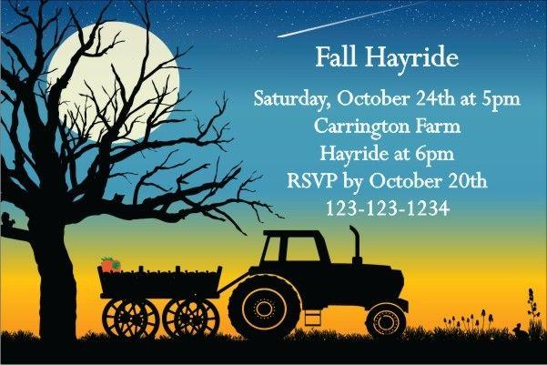 Fall Autumn Hayride Invitation 2 Personalized Party Invites