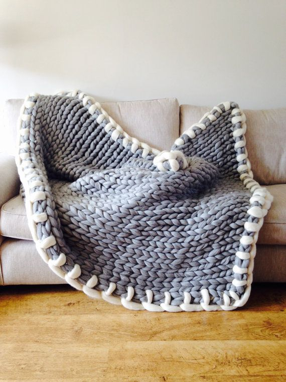 Chunky knit throw. Giant Knitted Blanket. by WoolCoutureCompany