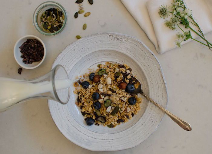 18 Rabbits' granola is certified organic and comes with a super short ingredient list, no matter the variety. Whole rolled oats, coconut, maple syrup, and sunflower oil meet health-boosters like chia seeds, pumpkin seeds, almonds, and hazelnuts, depending on the flavor. And it has the least sugar per serving—3 grams—of all the brands we looked at.