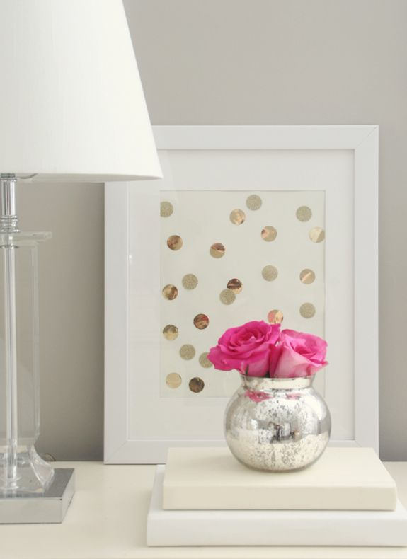 {totally diy for the picture frame} just get gold circles from Michael's and scatter them across a thick paper and frame it.
