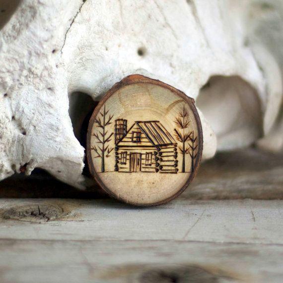 Log Cabin natale ornamento - albero ramo Orament - la nostra prima casa - ornamento primitivo - legno bruciato