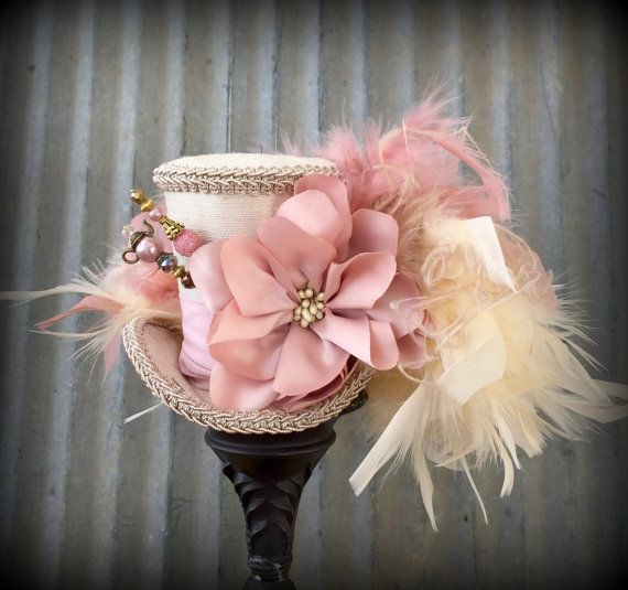 Mini Top Hat, Blush hat, Alice in Wonderland, Mad Hatter Hat, Steampunk, Wedding Mini top hat, Tea Party Hat, Royal Ascot, Kentucky Derby