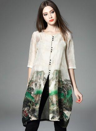 Jedwab Kwiatowy 1016863/1016863 Rękawy Do Połowy Łydki Vintage Suknia (1016863) @ floryday.com