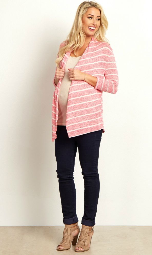 Stay warm in the knit open maternity cardigan. A timeless striped print makes this a staple piece that can be worn for every season, and an open front makes layering easy. Style this maternity top with a maternity cami, maternity jeans, and boots for a complete look.