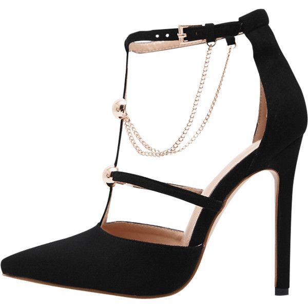 Black 40 Metal Chains T-strap Faux Suede Pumps ($24) ❤ liked on Polyvore featuring shoes and pumps