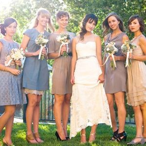 20 Wedding Ceremony Traditions You Can Skip:  Old-School Rule: Your bridesmaids should wear matching dresses.  The New Twist: Let your girls' individual personalities shine by having each one pick a dress that suits her own taste and shape (but perhaps all in the same fabric or colour). Or let them personalise their look with accessories like funky jewellery, boleros or patterned tights.