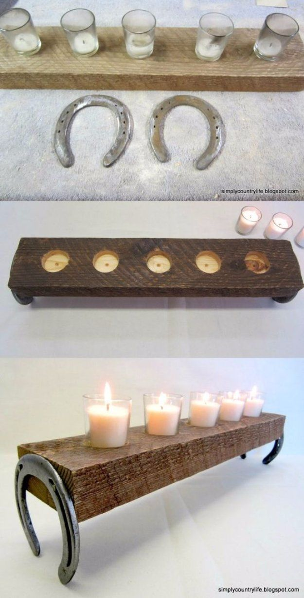 DIY Renters Decor Ideas - Repurposed Horseshoe and Chunk of Wood Votives - Cool DIY Projects for Those Renting Aparments, Condos or Dorm Rooms - Easy Temporary Wall Art, Contact Paper, Washi Tape and Shelves to Make at Home http://diyjoy.com/diy-decor-ideas-for-renters