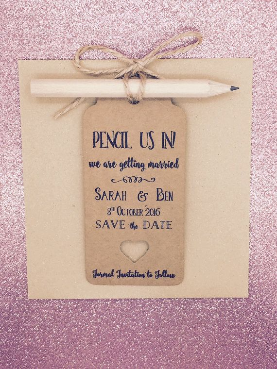 Personalised Pencil us in Save The Date / Evening by GREENFOXYtags