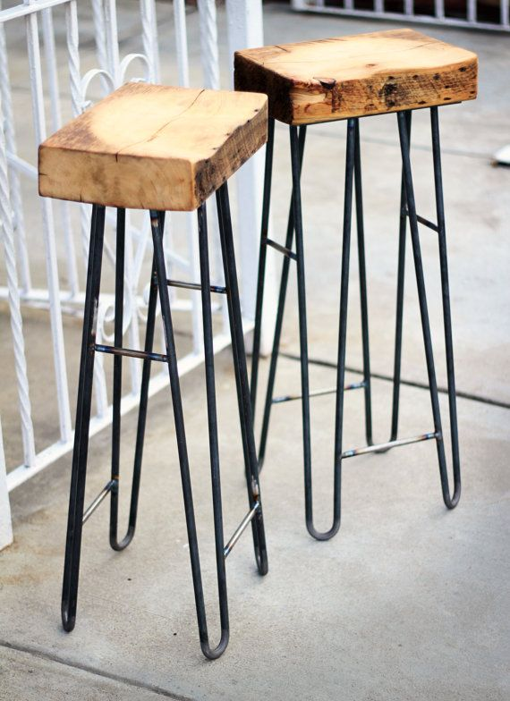 Stools Rclaimed Wood Steel Hairpin Leg by IronAndWoodside, $250.00