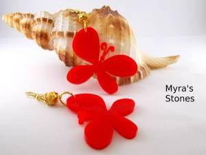 Farfalle in plexiglass rosso e perla dorata