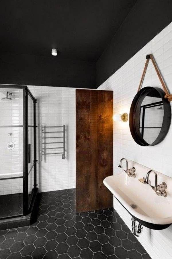 Suelo hexagonal negro para el cuarto de baño