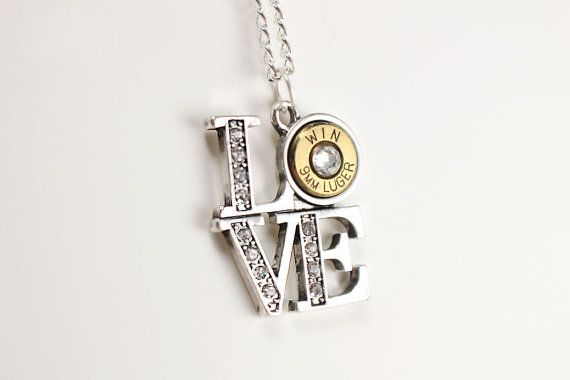 Love Necklace - Trendy Jewelry - Cute Necklace - Gun Jewelry - Necklaces for Girls - Gift For Women - Crystal Necklace - Cute Jewelry