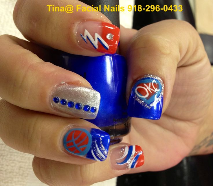 40 best nails thunder images on pinterest thunder nail art i did so good on this okc thunder prinsesfo Image collections
