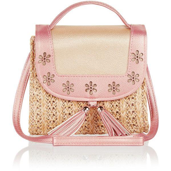 Monsoon Metallic Tassel Straw Bag (250 ZAR) ❤ liked on Polyvore featuring bags, handbags, woven handbags, pink metallic handbag, pink handbags, metallic purse and flower handbags