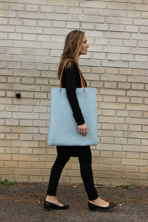 Mega taška z přírodní plsti, světle modrá