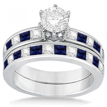 Channel Blue Sapphire & Diamond Bridal Set Platinum (1.30ct)  Retail Price : $8,446  Our Price : $4,645
