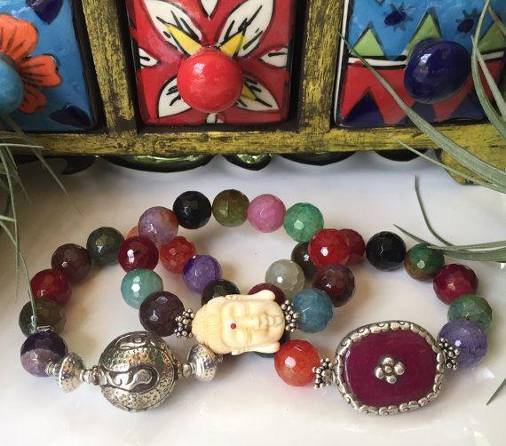 Mixed Fire Agate AA Gemstone Triple by JewelrybyKellyWalker