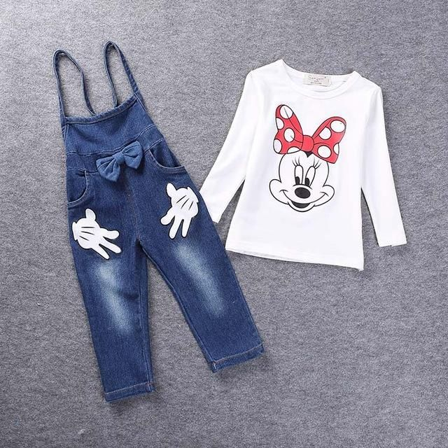 Toddler Girls Minnie Mouse Overalls Outfit