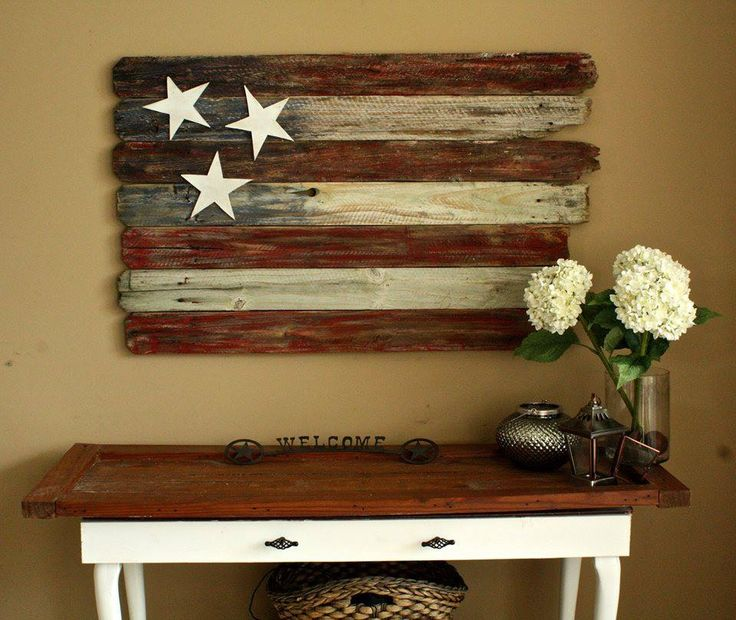 I love this rustic patriotic home decor idea