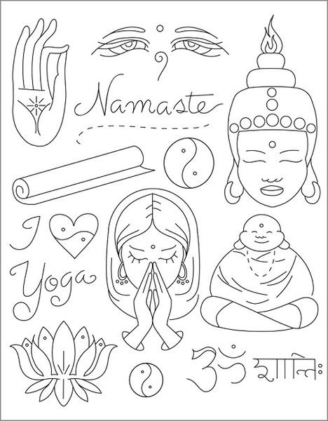 These symbols represent the Hindu and Buddhist religion. Again, they are simplistic yet effective due to their lack of colour but detailed illustration.