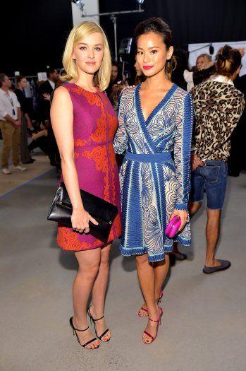 Jess Weixler and Jamie Chung attend the Diane von Furstenberg Spring 2015 show during New York Fashion Week
