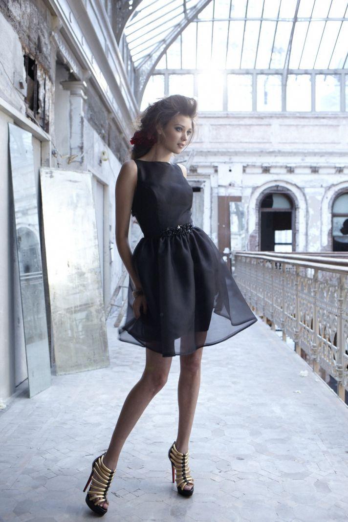 Black organza above-the-knee bridesmaid dress - For Nina!!