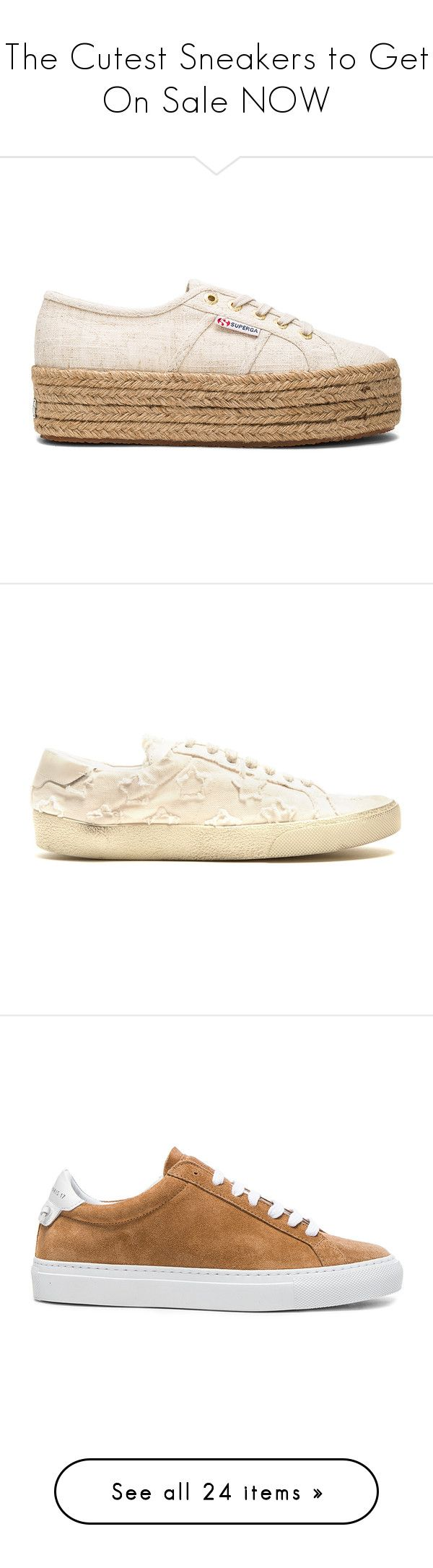 """The Cutest Sneakers to Get On Sale NOW"" by polyvore-editorial ❤ liked on Polyvore featuring sneakersonsale, shoes, sneakers, platform lace up shoes, laced up shoes, platform trainers, superga sneakers, rubber sole shoes, brown and giuseppe zanotti sneakers"