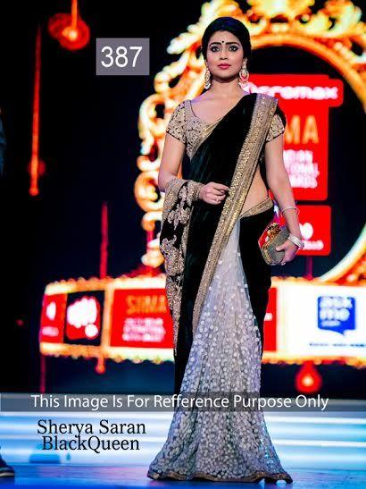 #ShriyaSaran Black Velvet With White Net Thread Work Half And Half Saree  #bollywoodsaree #bollywoodfashion