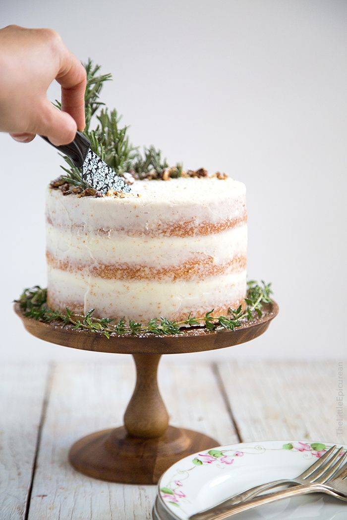 Rosemary Lemon Cake | This recipe makes three 6-inch lemon cake rounds. The cake is flavored with lemon juice and lemon zest. The buttercream is made with rosemary infused butter. | Recipe from The Little Epicurean