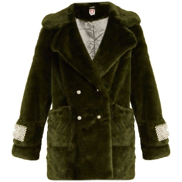 Shrimps Gavin embellished faux-fur coat (22.675 RUB) ❤ liked on Polyvore featuring outerwear, coats, dark green, double breasted coat, fake fur coat, shrimps coat, dark green coat and faux fur coat