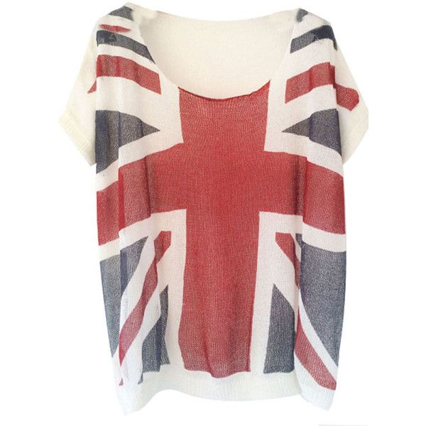 Navy Blue Union Jack Crochet Loose Womens T Shirt ($28) ❤ liked on Polyvore featuring tops, t-shirts, shirts, navy blue, red shirt, red t shirt, red top, union jack t shirt and british flag t shirt