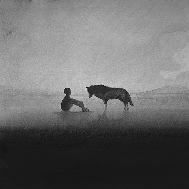 black-and-white-watercolor-art-elicia-edijanto-1