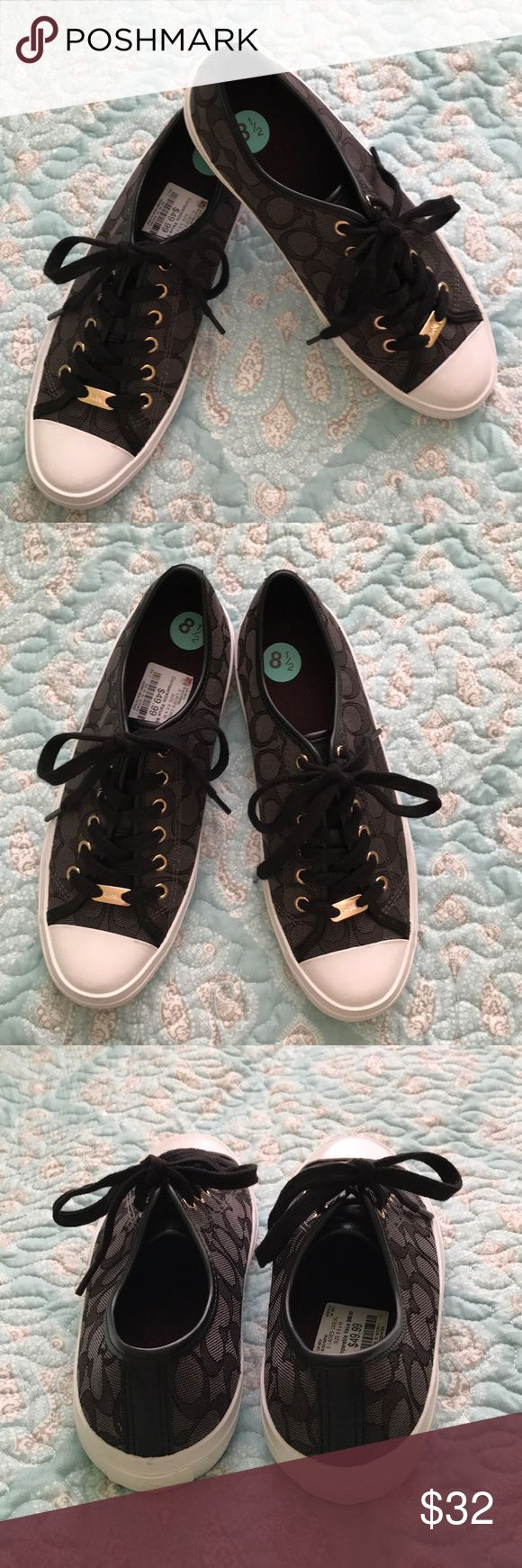 Coach Sneakers. NWT! Coach sneakers. Colors- black, white. Size- 8.5. Beautiful! Gold tone tags with Coach logo. See pics. Retails for 49.99 Coach Shoes Sneakers