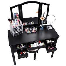 Makeup Vanity Set Stool Folding Mir...