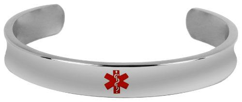 New Stainless Steel Engravable Medical Alert Bangle Bracelet -- Read more reviews of the product by visiting the link on the image.