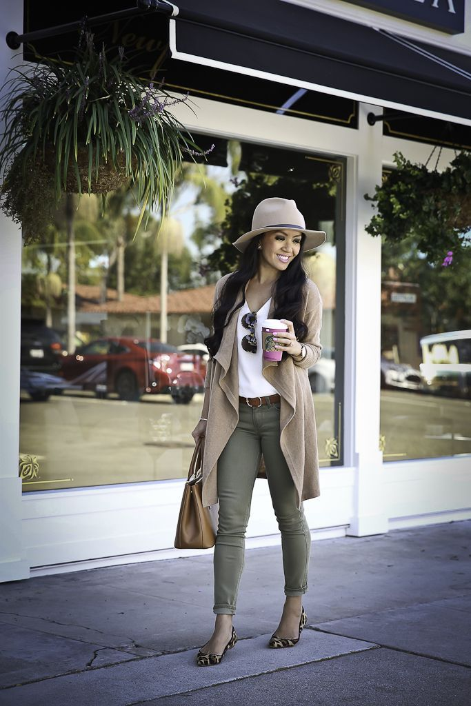 fall outfit idea, camel drapey cardigan, olive green skinny jeans, leopard flats, camel wool hat, casual weekend outfit idea, stylish petite, petite fashion blog, petite outfits - click the photo for outfit details!