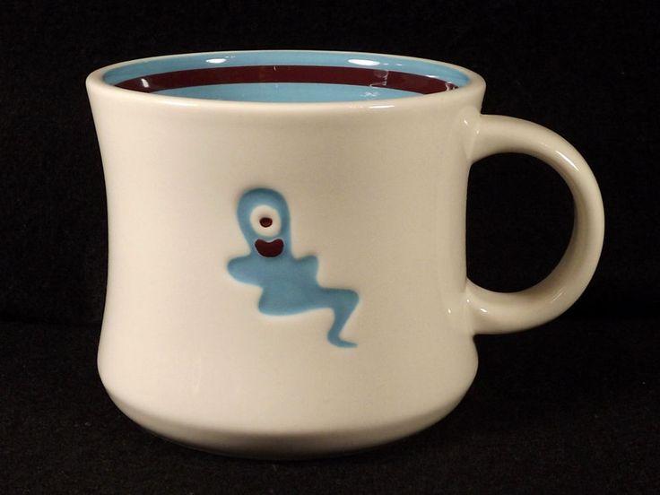 Starbucks Halloween One Eyed Blue Ghost Coffee Mug Tea Cup 2006 Porcelain White #Starbucks