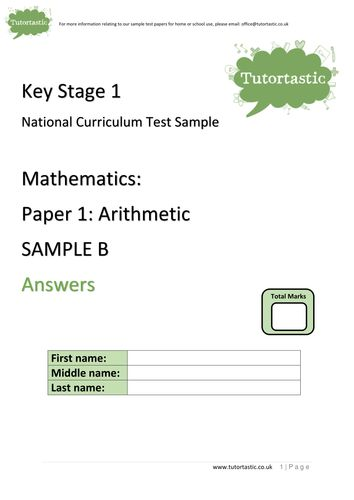 KS1 SATs 2016: Arithmetic Paper 1: SAMPLE B (with answers)