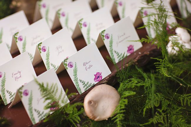 wedding escort cards with fern illustrations