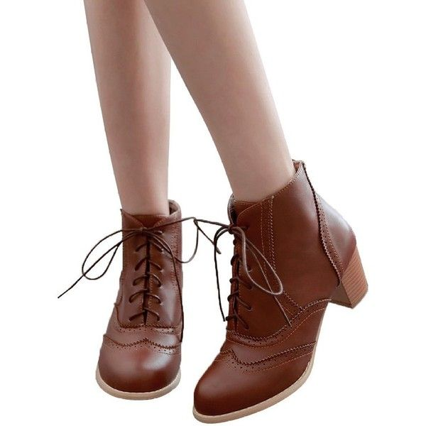 Amazon.com | Susanny Women's Retro PU Lace Up Brogue Chunky Heel Ankle... ($28) ❤ liked on Polyvore featuring shoes, retro shoes, wide shoes, dark brown oxford shoes, oxford shoes and dark brown shoes